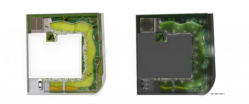 plana zagospodarowania ogrodu, schemat oświetlenia